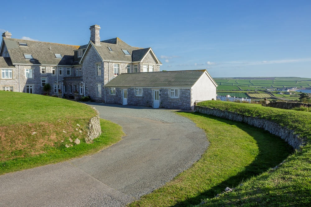 Exterior property photography with views over Thurlestone