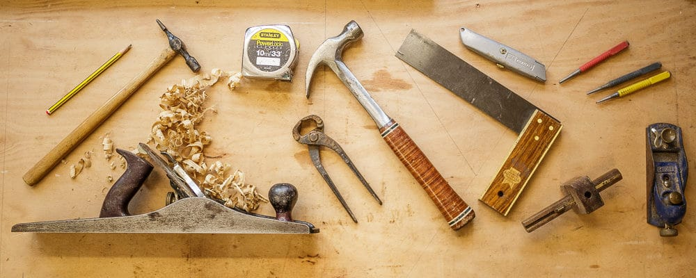 Flat lay of wood working tools