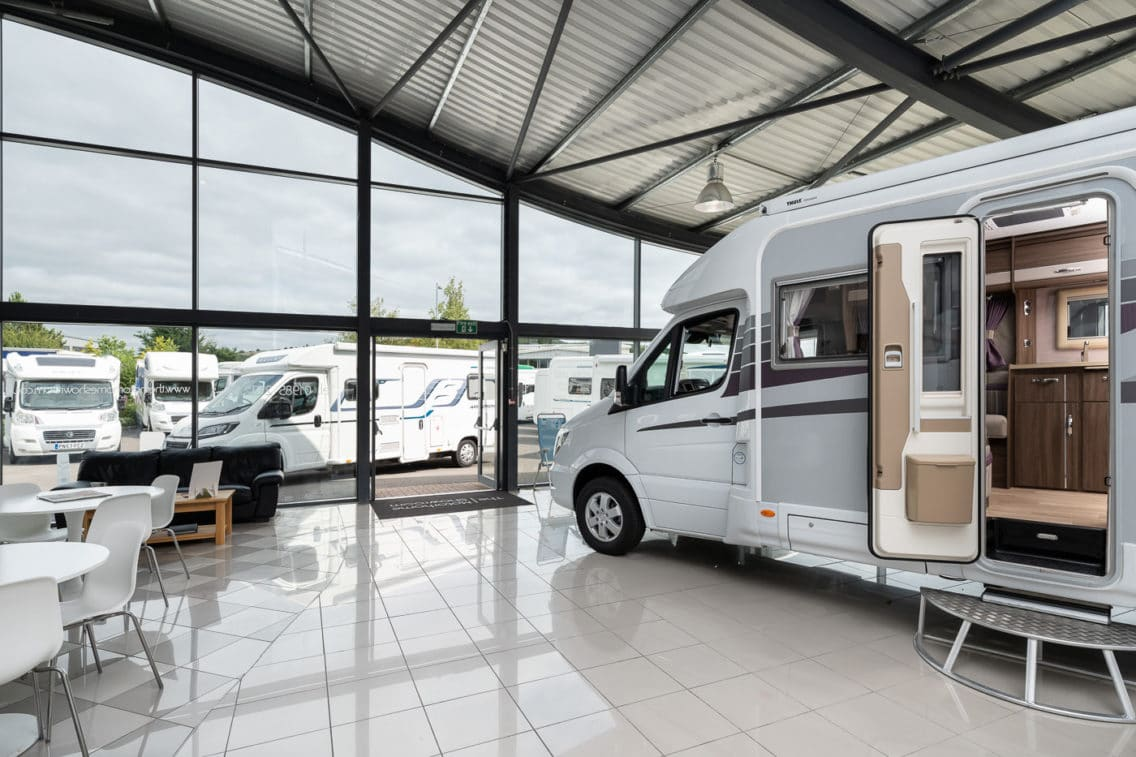 Motorhomes in the showroom