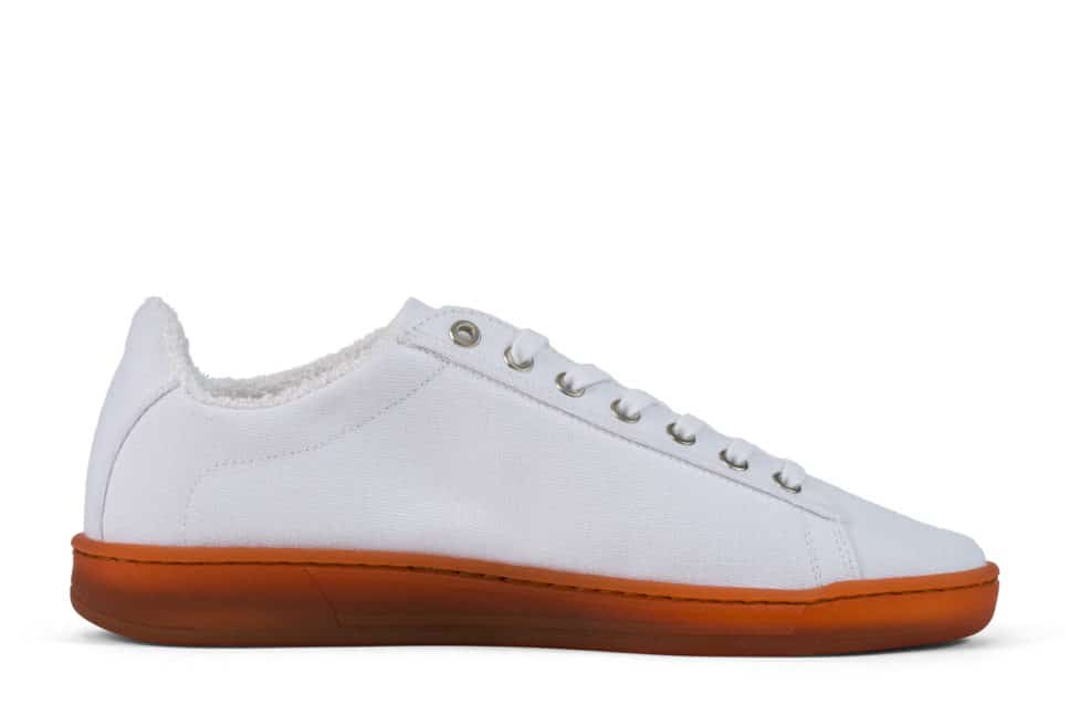 white plastic free trainer with natural rubber sole